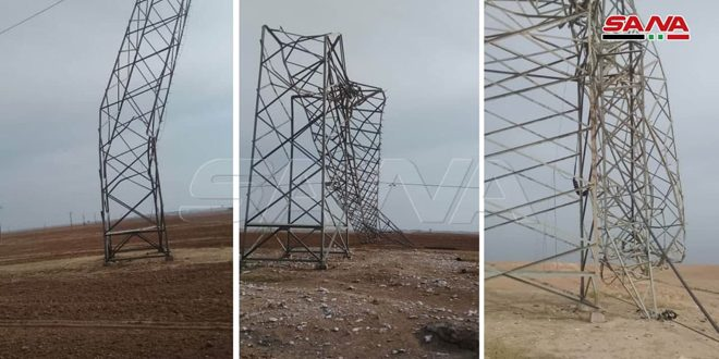 Power cut off in Hasaka due to collapse of two electric towers