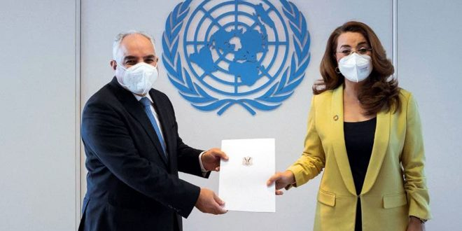 Ambassador Khaddour presents credentials to UN offices at Vienna on drugs and crime, and outer space affairs
