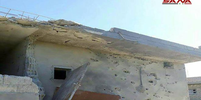Daños materiales en ataques terroristas contra la ciudad de Al-Baath en Quneitra