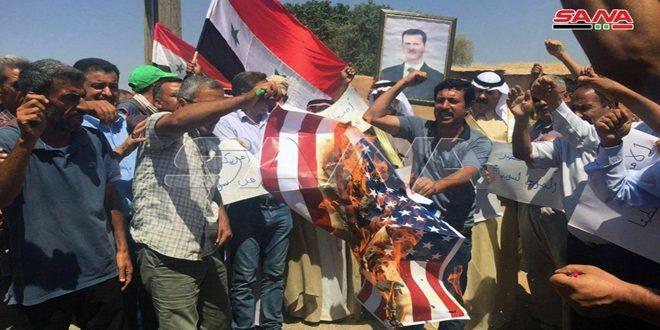 Protesta popular contra la presencia de las fuerzas de ocupación de EE.UU en Hasakeh