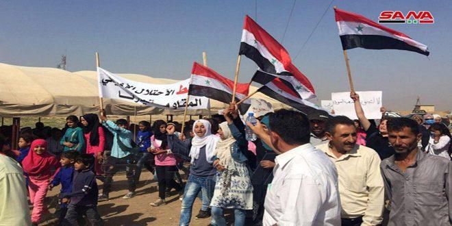 Acto de protesta en Qamishli contra los ocupantes estadounidense y turco. (+ fotos)