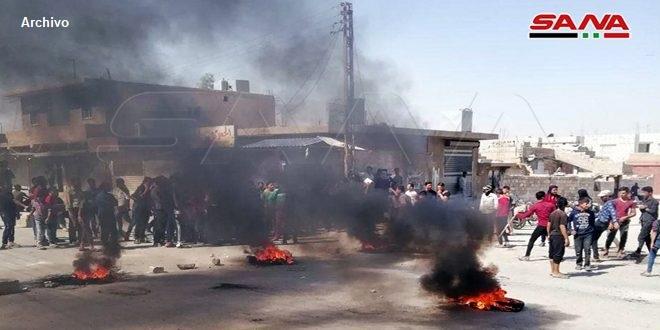 Vecinos de Amouda en Hasakeh protestan contra prácticas criminales de la milicia separatista FDS
