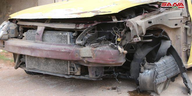 Daños materiales por estallido de bomba colocada por terroristas en un coche en Deraa