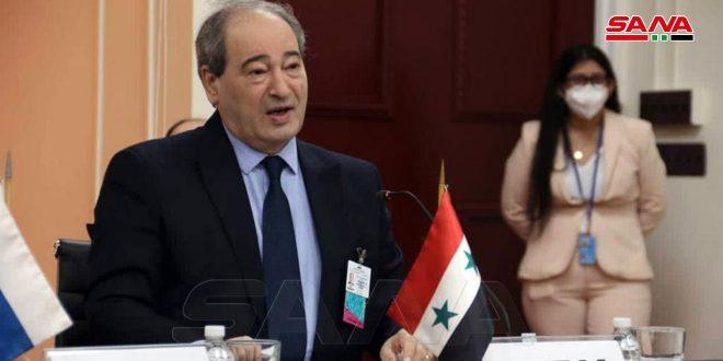 Terrorismo y medidas coercitivas unilaterales son principales desafíos globales, afirma Canciller sirio