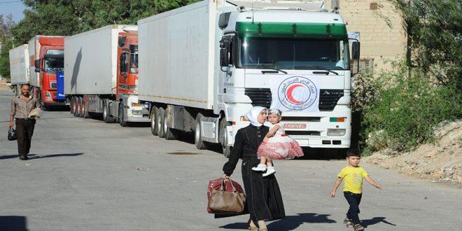 В Муаддамию провинции Дамаск прибыл гумконвой под эгидой Сирийского общества Красного Полумесяца