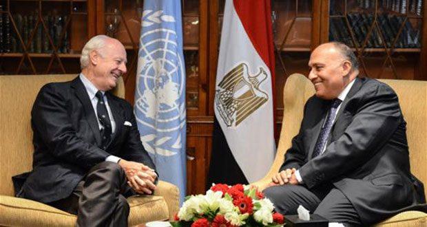 Между спецпосланником генсека ООН и главой МИД Египта состоялся телефонный разговор об этапах подготовки межсирийских переговоров в Женеве