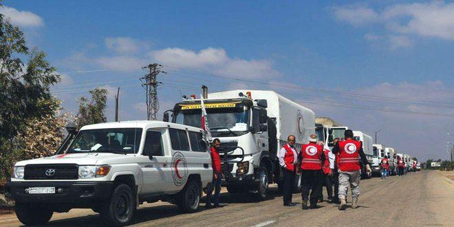 На восток провинции Дараа прибыли 17 грузовиков с гуманитарной помощью