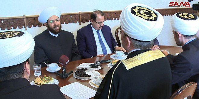 Хассун и Гайнутдин обсудили развитие сотрудничества между мусульманскими учреждениями Сирии и России