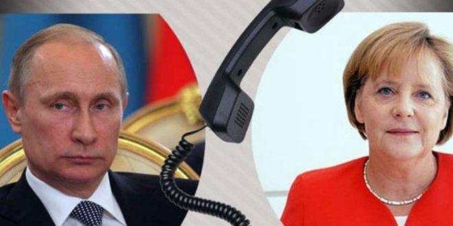 Путин и Меркель в ходе телефонного разговора обсудили кризис в Сирии