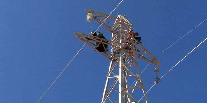 В провинции Хомс восстановлена линия электропередачи от станции Т-4 до города Тадмор