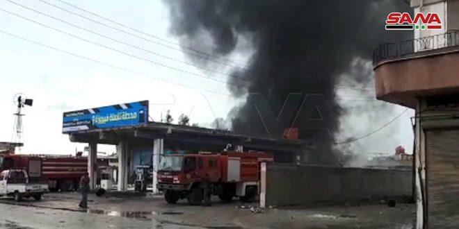На автозаправочной станции к востоку от Хомса вспыхнул пожар