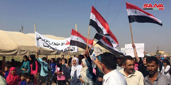 Митинг в селении Тель-Стех вблизи Эль-Камышлы против американской и турецкой оккупации