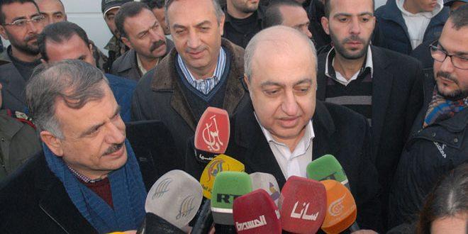 Şam Çevre Kent Valisi ve bakanlar anarım ekiplerinin Fici Su