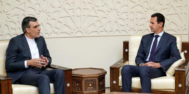Cumhurbaşkanı el Esad İran Dışişleri Bakanı Birinci Yardımcısı Hüseyin Cabiri Ansari ve ona eşlik eden heyeti kabul ediyor