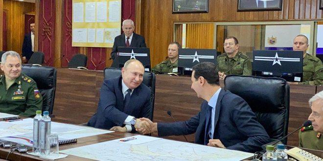 Cumhurbaşkanı Beşşar el Esad Şam'da Rusya Başkanı Vladimir Putin ile görüşmede bulunuyor