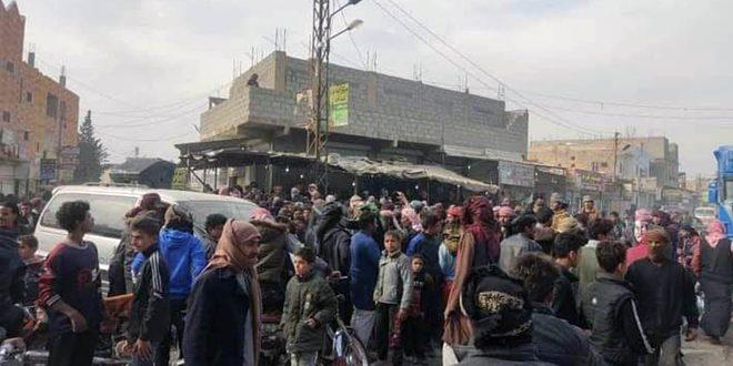 Deyrezzor'un Doğusunda DSG Milislerine Karşı Protesto Gösterisi