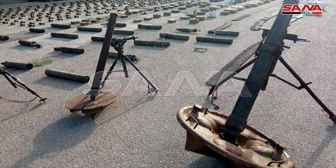 Homs Kırsalında Teröristlerden Kalma Çok Sayıda Silah ve Mühimmat Ele Geçirildi