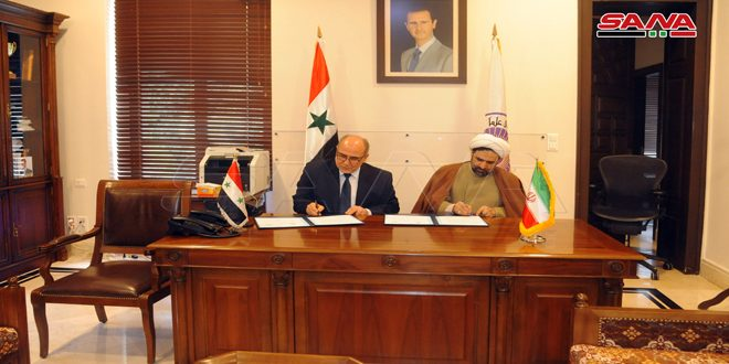 Damascus University signs a cooperation agreement with the Iranian International Ahl al-Bayt University