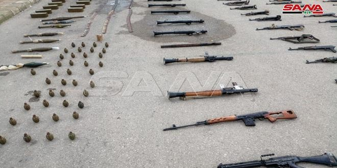 Weapons and various ammunition left behind by terrorists seized in Dara'a western countryside
