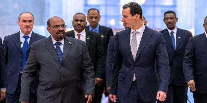 President al-Assad receives President of Sudan, discusses with him developments in Syria and region