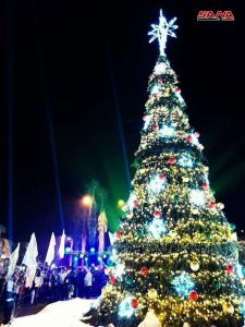 In Sqeilbieh City A 14 Meter High Christmas Tree Was Lit Up On Thursday Evening At The S Main Square Attended By Joyful Crowds