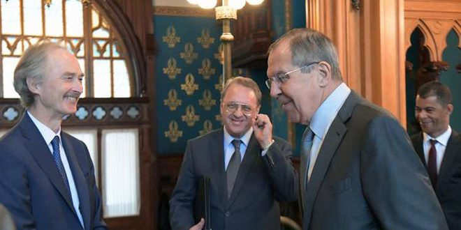Lavrov, Pedersen discuss elimination of terrorism, restoration of security to Syria