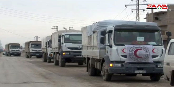 Humanitarian relief convoy enters Hajin region in Deir Ezzor countryside