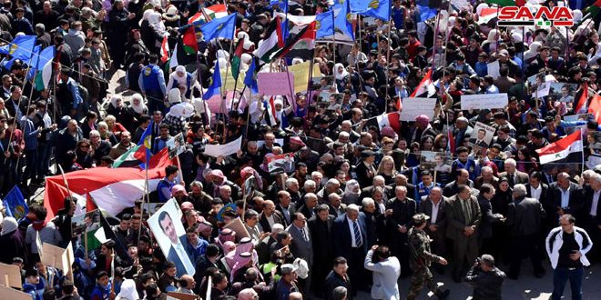 Stands held across Syrian provinces in protest against Trump's decision on occupied Golan