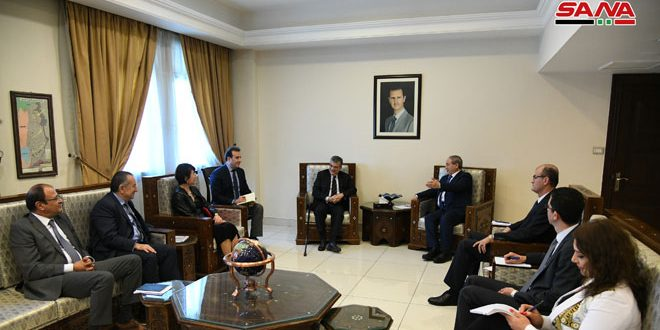 Mikdad discusses with Wahbeh cooperation between Syria and UNDP