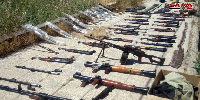 Weapons, ammo left behind by terrorists found in Daraa countryside