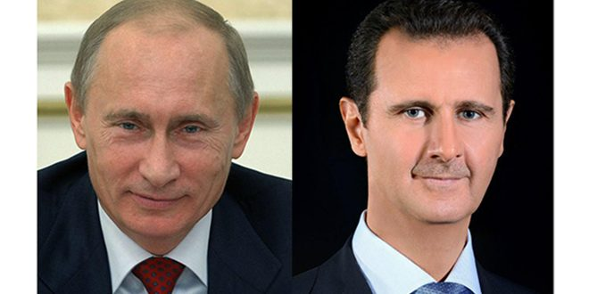 Presidents al-Assad, Putin exchange cables of congratulation on 75th anniversary of establishing diplomatic relations