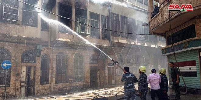 Fire erupts in an ancient Damascene house in al-Halbouni area, Damascus