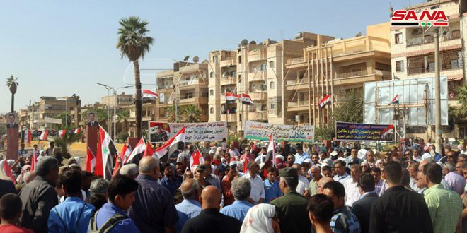 Locals of Deir Ezzor condemn Turkish aggression on Syrian lands, celebrate the army's victories