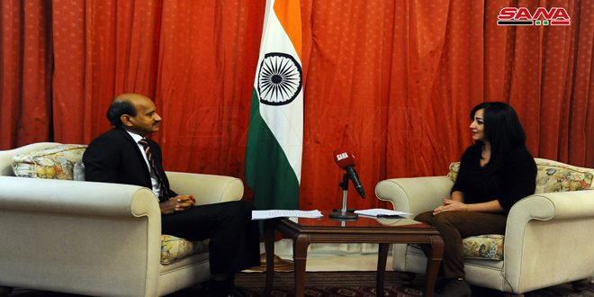 Indian Ambassador reiterates support for Syria's sovereignty, territorial integrity, and right to fight terrorism