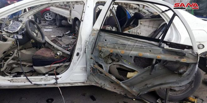 Civilian martyred in blast of IED planted by terrorists in car in Damascus