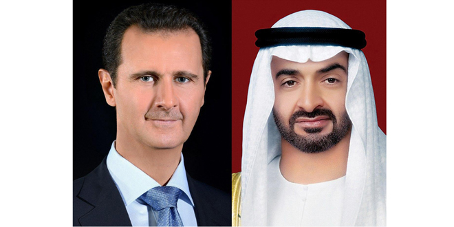 Phone call between President al-Assad and Mohammed bin Zayed Al Nahyan, Crown Prince of Abu Dhabi