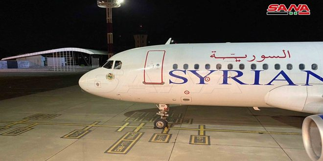 Running first flight of Syrian Airlines from Damascus towards Armenia after eight- year hiatus
