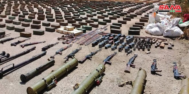 Large amounts of weapons and ammo prepared to be smuggled to terrorists in Idleb countryside seized
