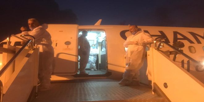 Syrian citizens repatriated from the Libyan city of Benghazi onboard Cham Wings Airlines