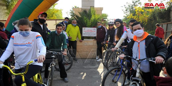 On their day, a particular bike path for disabled persons in Barniyah street in Damascus opened