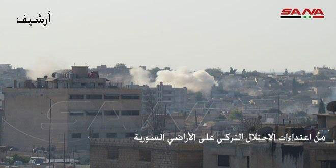 Turkish occupation and its mercenaries attack with missiles villages in Tal Abyad region, Raqqa northern countryside