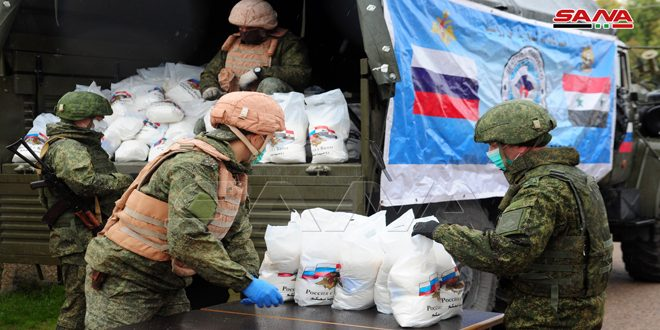 Russian aid distributed in al-Hayjana town in Damascus countryside