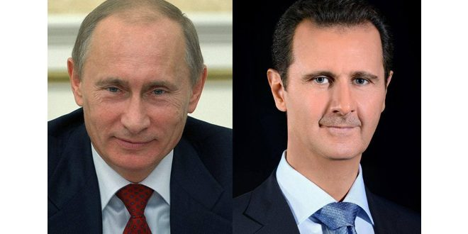 President al -Assad congratulates President Putin on anniversary of victory over Nazism