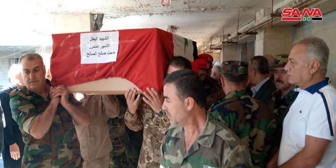 Martyr Midhat al-Saleh escorted from Quneitra to final resting place