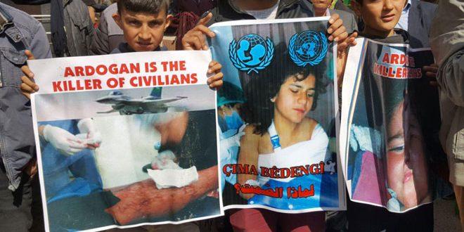 Muerte y lesione de 6 civiles como resultado de la agresión del régimen turco y sus mercenarios. Los niños de Afrin exigen un cese inmediato de la agresión