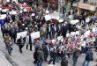 Una concentración en la plaza central de la ciudad de Alepo en repudio a la presencia ilegal de EEUU en Siria