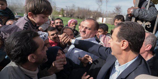 Presidente Al-Assad se reúne con ciudadanos de la Ghuta Oriental liberados por el Ejército sirio