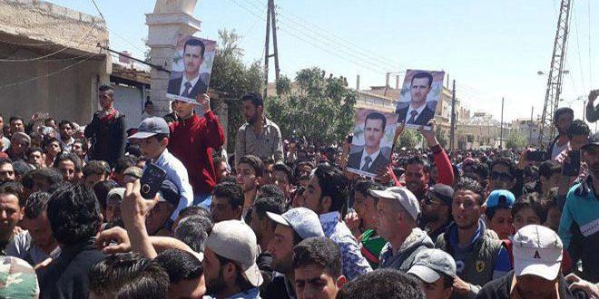 Población de Al-Ruheibeh confirma su apoyo al Ejército Árabe Sirio