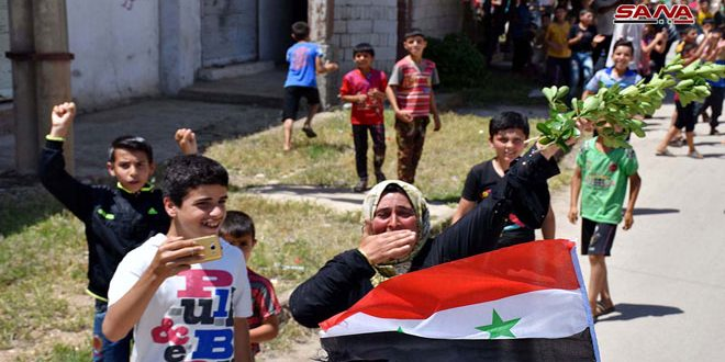 Fotos de la recepción de los habitantes de al Hula a las Fuerzas de Seguridad Interna