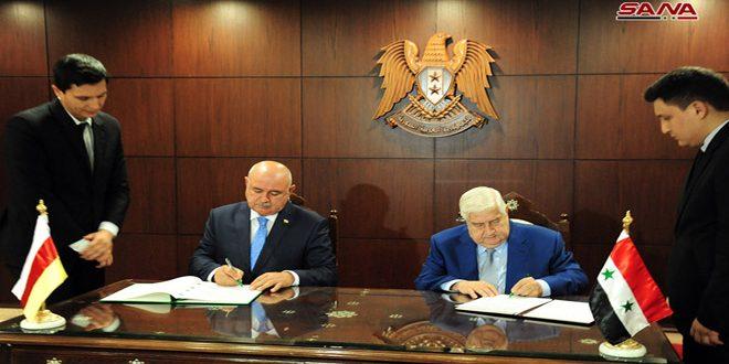 Al-Mualem y Medov firman un convenio para establecer relaciones diplomáticas entre Siria y Osetia del Sur